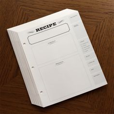 Recipe Journal Refill Pages