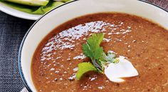 Roasted tomato and black bean soup by Ellie Krieger ( for vegan use veg broth and guacamole instead of sour cream)
