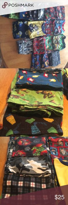 Boys Pajamas size 8-10, 10 and L 6 long pants: Lego, Ninja Turtles, guitars, black and white camo, Marvel Avengers, black/white/red plaid. 3 pairs shorts: scorpions, Mario Bros, Angry Birds 4 sets: Minions, Baseball, Ninja Turtles, Marvel Avengers  These pajamas have been worn and have the typical pilling of pajamas that have been machine washed and dried. Pajamas Pajama Sets