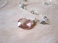 Pink Quartz Labradorite Silver Necklace by JulieGregoryDesigns