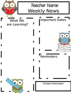 This is a editable weekly newsletter with owl clipart.
