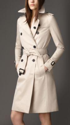 Trench-coat long en gabardine de coton Burberry