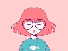 Cartoon Drawing Design Pink Girl teal art cute girl pink drawing character vector illustration - View on Dribbble Drawing Cartoon Characters, Cartoon Art Styles, Cartoon Girl Drawing, Character Drawing, Cartoon Drawings, Cute Drawings, Cute Girl Drawing, Cute Characters, Art And Illustration