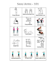 Sexy Arms 101-  Print this easy to follow arms workout sheet and head to the gym with it! Great way to switch up your workout routine!