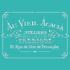 Shabby Chic Stencil - Vintage French Acacia Ateliers (Furniture Print Transfer) #031