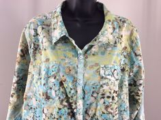 Relativity 3X Floral Button Front Blouse Button Cuff Sleeve Blue Green #Relativity #Blouse #Casual