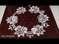 Latest Vijayadasami muggulu 2019 || easy Navarathri kolam || new Diwali rangoli designs - YouTube Indian Rangoli Designs, Rangoli Designs Latest, Simple Rangoli Designs Images, Rangoli Border Designs, Rangoli Designs With Dots, Rangoli With Dots, Beautiful Rangoli Designs, Mehndi Designs, Free Hand Rangoli Design