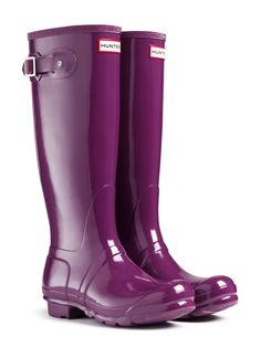 Gloss Rain Boots | Original Tall Gloss Rain Boots | Hunter Boot. Black, Violet, Sovereign Purple, or Dark Ruby.