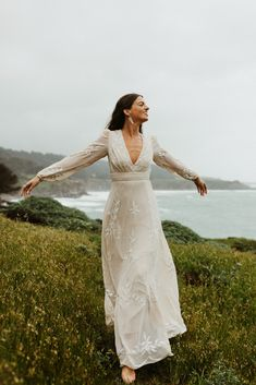 Belize Dress from BHLDN With a plunging neckline, gorgeous embroidery, and subtle beading, this dress offers endless possibilities. Long Sleeve Wedding, Wedding Dress Sleeves, Boho Wedding Dress, Tomboy Wedding Dress, Garden Wedding Dresses, Dream Wedding Dresses, Wedding Gowns, October Wedding Dresses, Bridal Gown