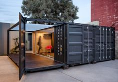 Need a quick modular office solution that can be easily disassembled and reassembled, rearranged and expanded? Our custom container mobile offices are completely modular and flexible so the containers can be reconfigured at any time as your needs change! Building A Container Home, Container Buildings, Container Architecture, Architecture Design, Container Home Designs, Container Shop, Shipping Container Office, Shipping Container Design, Shipping Containers