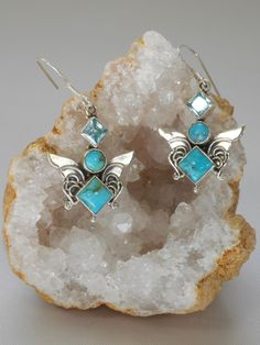 ArtisanTurquoise Bee Earring Set 1 with Blue Topaz