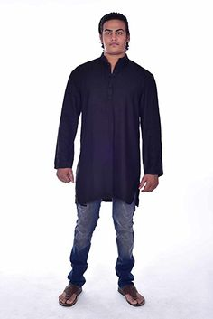Lakkar Haveli Indian Grey Color Solid Artificial Poly Silk Mens Kurta Shirt Tunic Loose Fit Plus Size