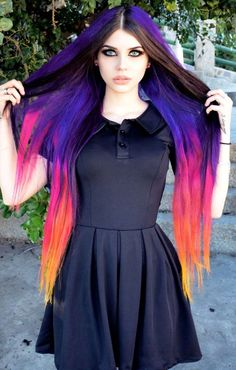 Pin by P on Goth in 2019 Goth Beauty, Dark Beauty, Gothic Chic, Unicorn Hair Color, Pretty Hair Color, Punk Girls, Dye My Hair, Rainbow Hair, Crazy Hair