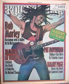 Bob Marley on the cover of Rolling Stone, 1976. From 101 Kick-Ass Music Covers: The most awesome, iconic and controversial music magazine images of the last 80 years. Compiled by Newmanology and the good folks at Adweek magazine. See the full collection of covers here: http://www.adweek.com/news/press/101-kick-ass-music-covers-156788