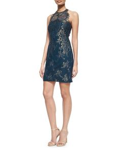 Jewel-Neck Metallic Lace Racerback Cocktail Dress - Marchesa Notte