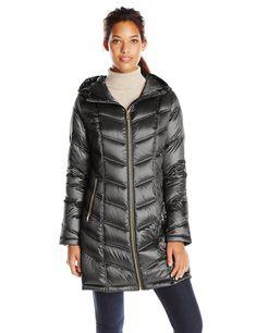 Calvin Klein Women's Mid-Length Packable Chevron Down Coat, Black, XXS