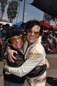 Humor and Crooner unite for King-sized talent!  Thank you Jeff Abbit and Kirk Wall for sharing your BURNING LOVE with the 16th Elvis Festival at the OC Market Place