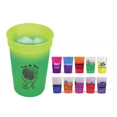 Changes color with ice cold liquids. Thumb-grip handle. Durable plastic. Made in the USA.