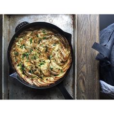 Skillet Chive Butter Scalloped Potatoes