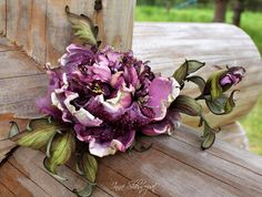 Gorgeous OOAK leather corsage flower. Leather jewelry gift
