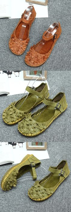 SOCOFY Flower Buckle Stitching Genuine Leather Flat Shoes
