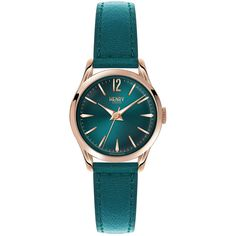 Henry London Stratford Teal Leather Strap Watch ($135) ❤ liked on Polyvore featuring jewelry, watches, metallic, leather jewelry, dial watches, leather wrist watch, leather watches and teal watches