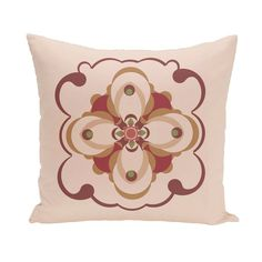 E by Design Flower Flouish Decorative Pillow Taupe / Rust Polyester - PGN155TA7OR6-26