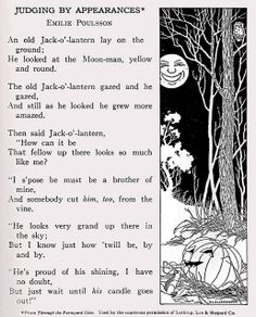 "Jack-o'-lantern and the moon    ""Through Fairy Halls of My Book House"" edited by Olive Beaupre Miller, who copyrighted in 1920, 1928, 1937, and 1950. Published by The Book House for Children of Chicago.    This illustration is by D. L. Ellerby."