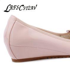 ff320236b2e LAFS CSTLAV Sweet Loafer Wedge Heel Women Bekväm Casual Basic Ballett Skor  Med Heel Spring Twisted
