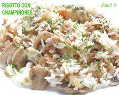 arroz blanco con bacon y champiñones