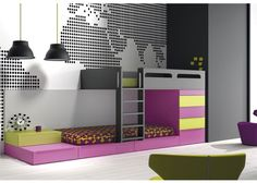 Dormitorio infantil con camas cubo tipo Tren