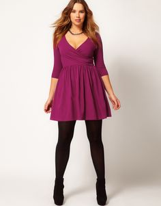 ASOS Curve | ASOS CURVE Skater Dress With Ballet Wrap And 3/4 Sleeve at ASOS