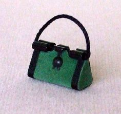 Dollhouse Miniature Green Purse or Handbag by WhimsyCottageMinis