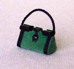 Dollhouse Miniature Green Purse or Handbag  by WhimsyCottageMinis