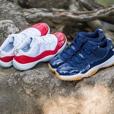 """Double trouble. The Nike Air Jordan 11 Retro Low """"Cherry"""" and """"Midnight Navy"""" is available at kickbackzny.com."""