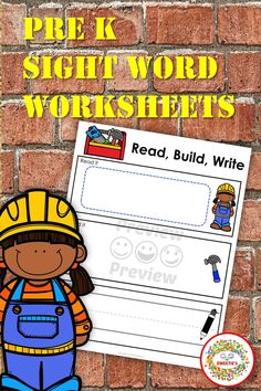 So many ways to learn with this set of read, build, and write worksheets! Pre-kinder sight words with this activity set. 7 different word building mats Plain B/W B/W Construction Worker boy and girl 4 full color mats / black boy & girl / white boy & girl Sight words to put in the read it section of the mat. Cut on the grey lines to fit on the space on the word mats. #sightwords #prek #homeschool #worksheets Pre K Sight Words, First Grade Sight Words, Second Grade, Homeschool Worksheets, Sight Word Worksheets, Kindergarten Blogs, School Reviews, Learn To Spell, Word Building