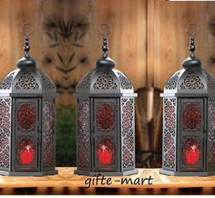 """3 LARGE red black Moroccan 16"""" tall Lantern Candle holder light outdoor terrace 