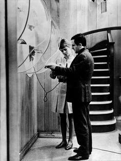 "Julie Christie and François Truffaut on the set of ""Fahrenheit 451"" (1966)"