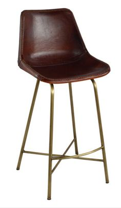 "Stitched Leather Bar Stool with hand whip stitched leather seat. Brass Base. As seen in the chic Catskills hotel ""The Arnold House"". Dimensions: 18"" deep x 17"" wide x 38"" tall (27"" seat height). - Mat"