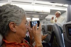 FREEZE FRAME: A journalist took a picture of Pope Francis during a news conference on the flight back to Italy after departure from Rio de Janeiro on Monday. (Luca Zennaro/European Pressphoto Agency)