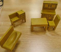 Vtg Doll House Miniature Jaymar Happy Hour Wooden Kitchen Furniture in box | eBay