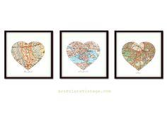 3 personalizados arte mapa mapa de corazón por ArtPrintsVintage