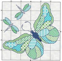 Cross-stitch Biscornu Butterfly & Dragonflies... no color chart available, just use the pattern chart as your color guide.. or choose your own colors...   Gallery.ru / Фото #8 - БЛЄЧВОРК - YTkolobok77