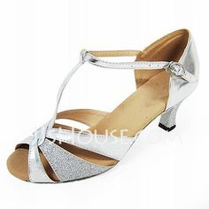 $27.99 - Women's Leatherette Sparkling Glitter Heels Sandals Latin With T-Strap Dance Shoes (053013022) http://jjshouse.com/Women-S-Leatherette-Sparkling-Glitter-Heels-Sandals-Latin-With-T-Strap-Dance-Shoes-053013022-g13022
