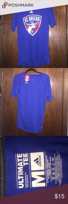 FC Dallas MLS Athletic T-shirt blue climalite Adidas shirt with red, white, & blue logo, FC Dallas '96 Major League Soccer logo on front Adidas Shirts Tees - Short Sleeve