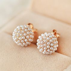 [$28.80] Elegant Vintage Pearl Diamond Engagement Stud Earrings - Free Shipping