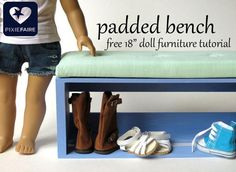 """Make this fun, easy upholstered bench, sized just right for 18"""" dolls! Free tutorial on Pixie Faire!"""