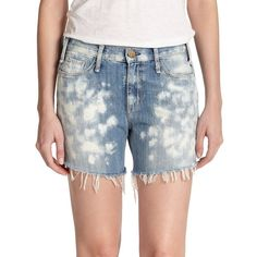 McGuire Riviera Distressed Denim Shorts ($79) ❤ liked on Polyvore featuring shorts, apparel & accessories, multicolored, distressed acid wash shorts, colorful shorts, ripped shorts, short shorts and mcguire