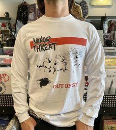 Minor Threat Long Sleeve Shirt Minor Threat, Band Shirts, White Long Sleeve, Graphic Sweatshirt, T Shirt, Long Sleeve Shirts, Sweatshirts, Sleeves, Fashion