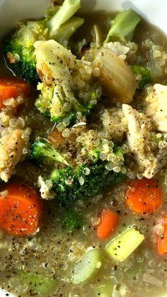 Broccoli Chicken Quinoa Soup Recipe ~ so delicious